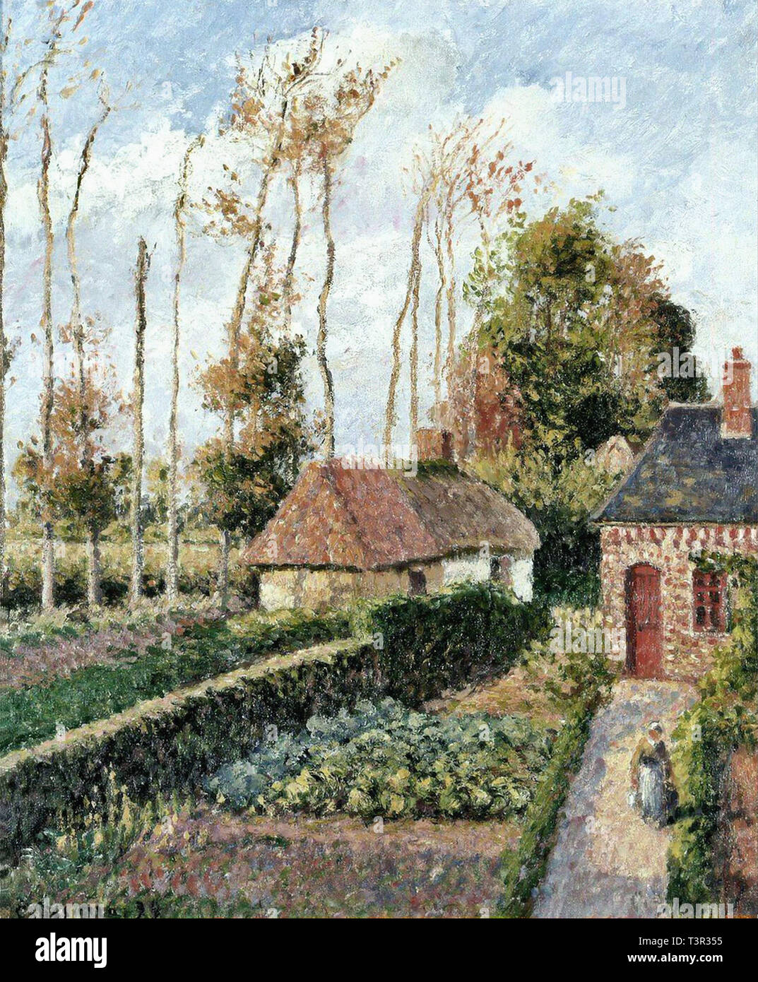 Camille Pissarro (1830 1903) The Garden Of The Ango Manor Varengeville Sunset - Private Collection 1899 - Stock Image