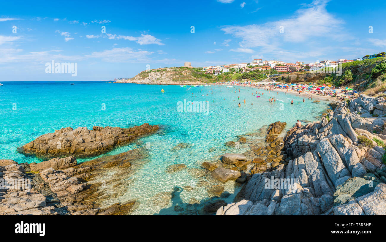 Santa Teresa Gallura, Sardinia island, Italy - July 10, 2018: Rena Bianca beach, north Sardinia island, Italy Stock Photo