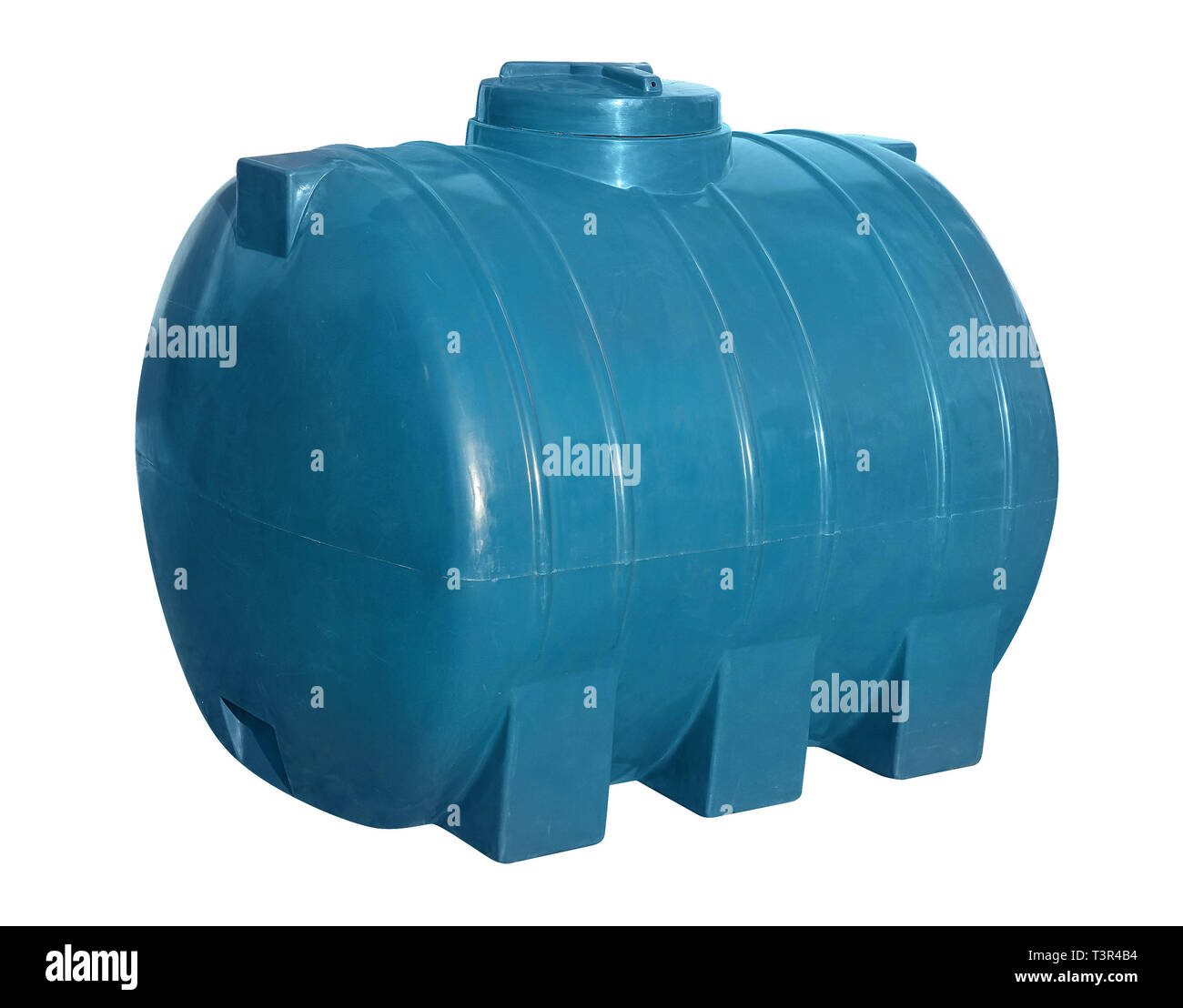 Blue big plastic barrel for water, canister isolated on white background - Stock Image