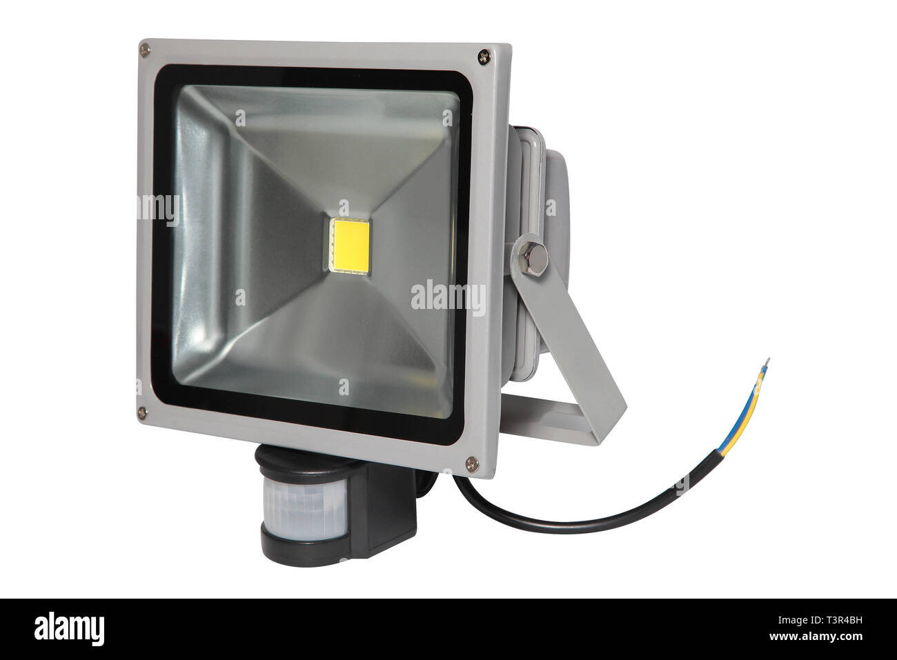 Lighting equipment. Gray halogen lantern with motion detector isolated on white background - Stock Image
