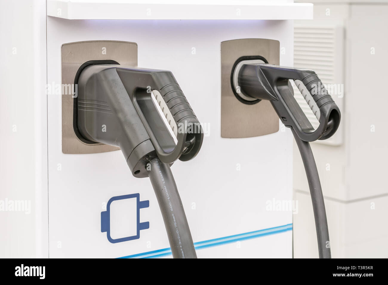 Two charging stations for electric cars Stock Photo