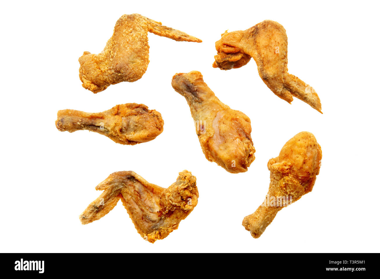 Original recipe fried chickens, isolated on white background. - Stock Image