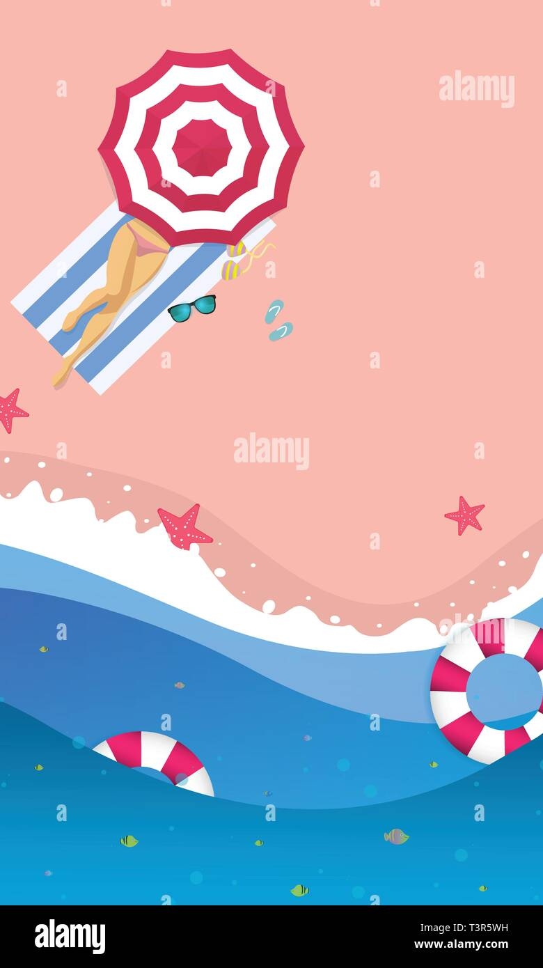 Summer sale concept banner. Tropical beach in paper art style. Top view paper cut illustration. Stock Vector