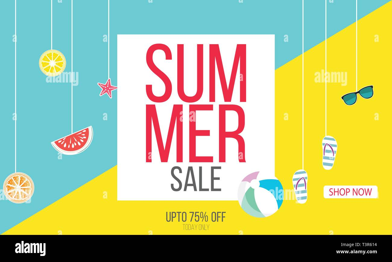 Hot Summer Sale banner. Summer sale background layout for banners. voucher discount.Vector illustration template. - Vector - Stock Vector