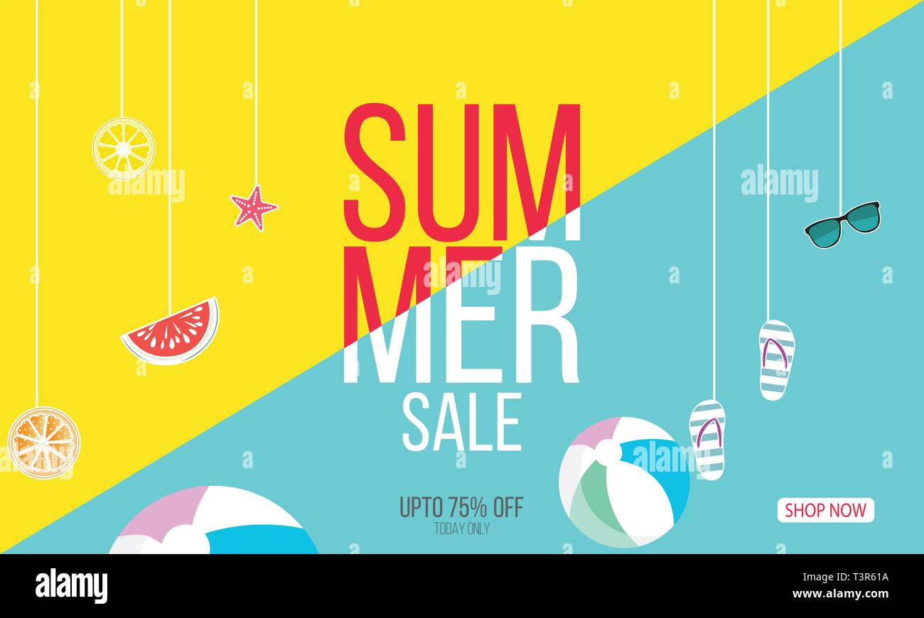 Summer time vector banner design with text and colorful background. Vector illustration. - Vector - Stock Image