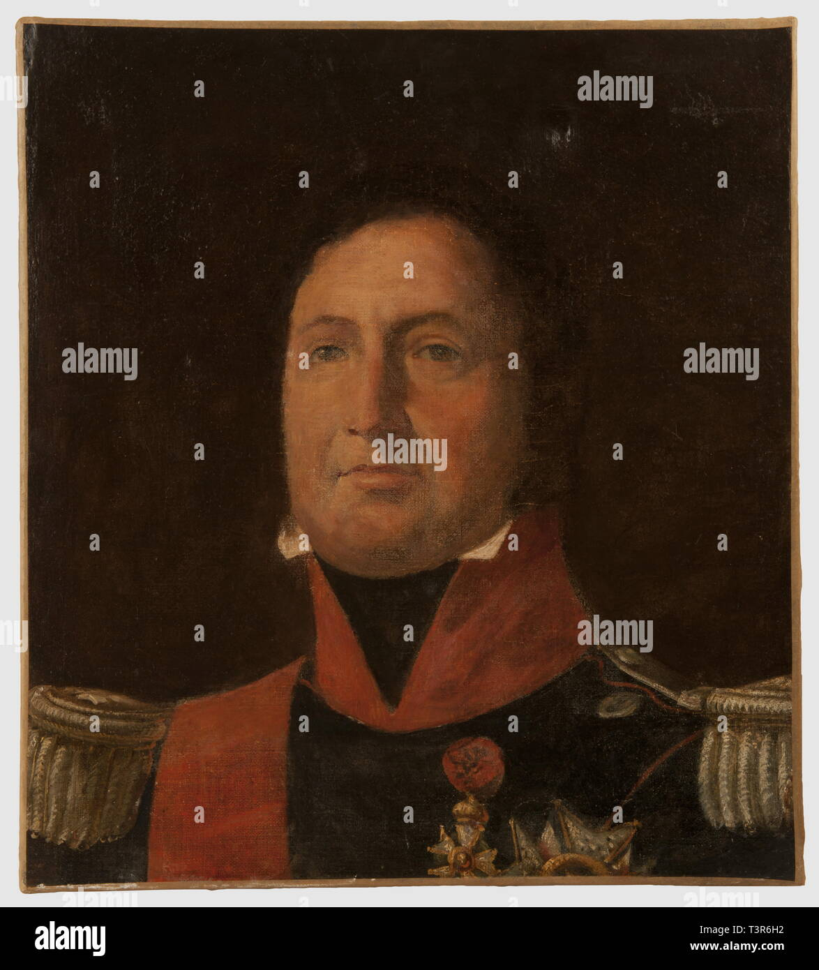 PREMIERE ET SECONDE RESTAURATION 1815-1848, Esquisse représentant le Roi Louis-Philippe 1er, portant l'uniforme d'officier supérieur de la Garde Nationale, huile sur toile. Le Roi porte un habit à fond de drap bleu, collet et passepoil écarlates, boutons argentés, épaulettes d'officier général en fil d'argent. Le Roi est décoré du Grand Cordon de la Légion d'Honneur, de la Croix et de la Grand-Croix de l'Ordre. Hauteur 49 cm, largeur 45 cm. Ensemble en bon état, léger enfoncement sur la partie supérieure de la toile, présenté sans cadre, Additional-Rights-Clearance-Info-Not-Available - Stock Image