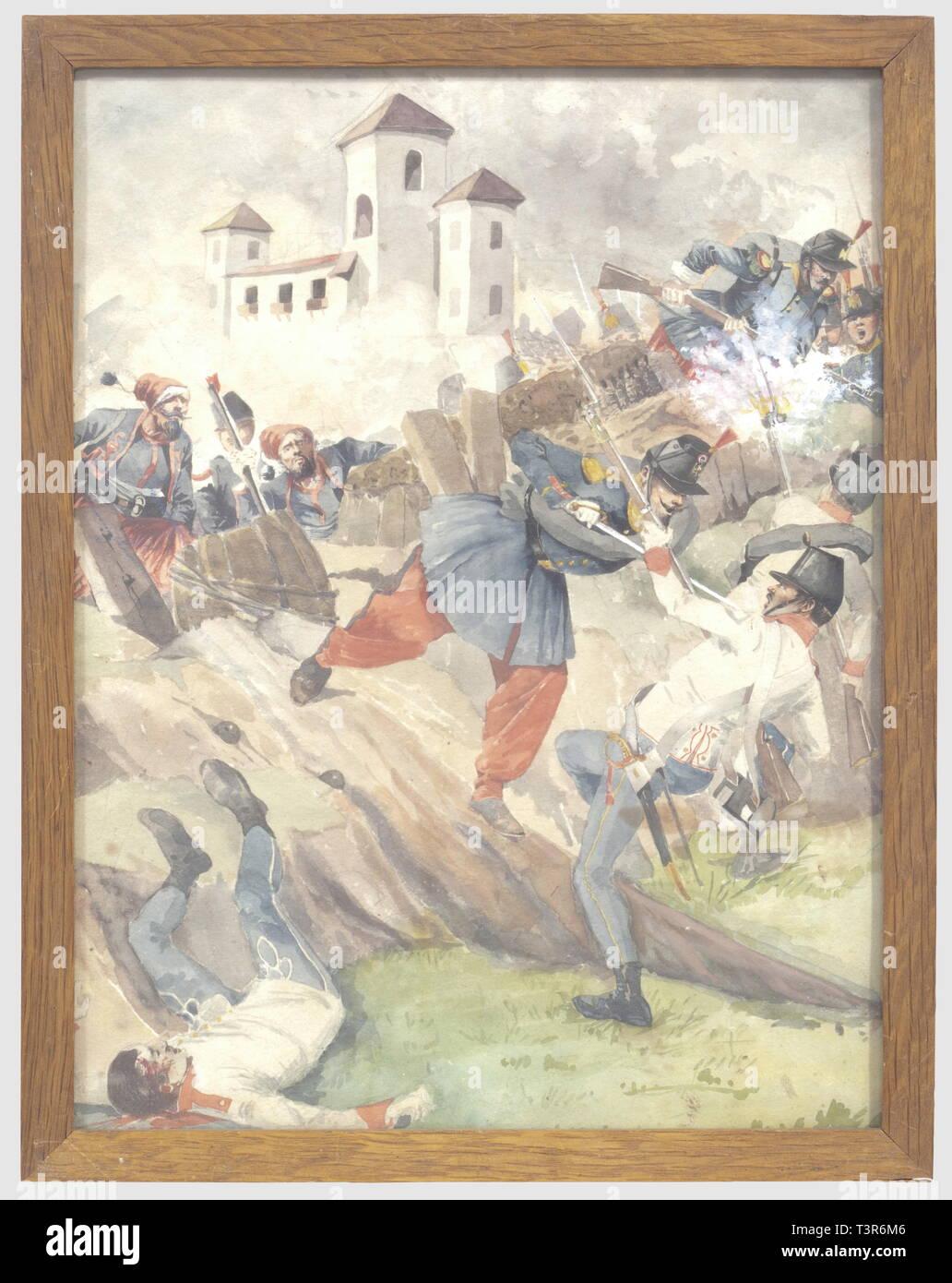 SECONDE REPUBLIQUE ET SECOND EMPIRE 1848-1870, Aquarelle sur papier représentant un assaut d'infanterie francaise, (zouaves et voltigeurs) contre de l'infanterie autrichienne pendant la campagne d'Italie (1859). Hauteur 29 cm, largeur 22,5 cm. Ensemble en bon état, présenté sous verre, cadre en bois naturel d'origine. Le cadre porte au dos le cachet de l'escadron des Cent Gardes, ce petit tableau appartenait au colonel Verly commandant l'unité, il était par tradition exposé dans son bureau, Additional-Rights-Clearance-Info-Not-Available - Stock Image