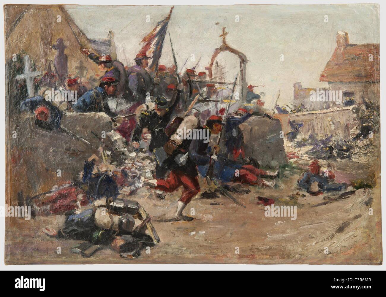 SECONDE REPUBLIQUE ET SECOND EMPIRE 1848-1870, Huile sur toile, représentant un combat de rue, engageant de l'infanterie francaise vers 1870. Les fantassins sortent d'un cimetière (Saint-Privat?) en contre-attaquant l'ennemi posté dans une rue en face, un officier conduit la charge, le porte-drapeau reste au milieu du groupe derrière le muret du cimetière, au premier plan gisent plusieurs hommes blessés ou morts. Hauteur 32 cm, Largeur 46 cm. Ensemble en bon état, présenté sans cadre, Additional-Rights-Clearance-Info-Not-Available - Stock Image