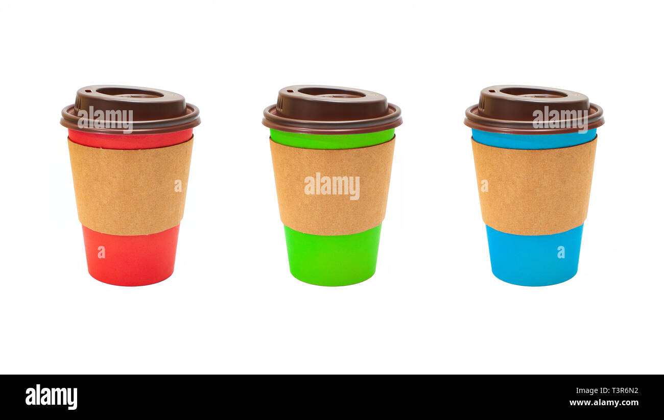 166ab2ca3ad Set of different colored and blank Cardboard Coffee Cups isolated on a  white background.