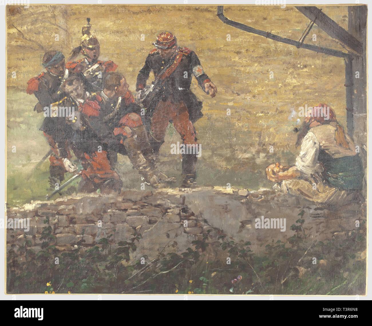 SECONDE REPUBLIQUE ET SECOND EMPIRE 1848-1870, Fragment du panorama de la Bataille de Rezonville, exécuté par le peintre militaire Edouard Detaille et par son atelier, Cet extrait (huile sur toile) représente des dragons transportant un officier blessé accompagné d'un infirmier indiquant la direction à suivre, assis sur un muret, un zouave les regarde en fumant sa pipe. Sur le panorama original, ce fragment était situé en avant de la brigade Murat (1er et 9ème dragons), rangée en bataille, en premier plan se situait l'ambulance de campagne aménag, Additional-Rights-Clearance-Info-Not-Available - Stock Image