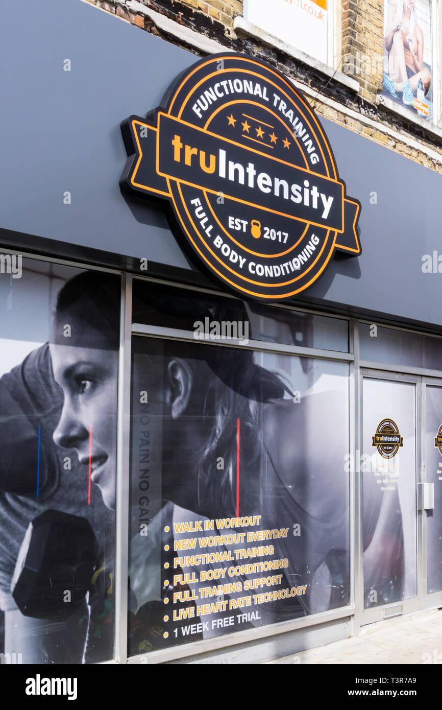 Truintensity functional training & full body conditioning sign on TruGym in Bromley, South London. - Stock Image