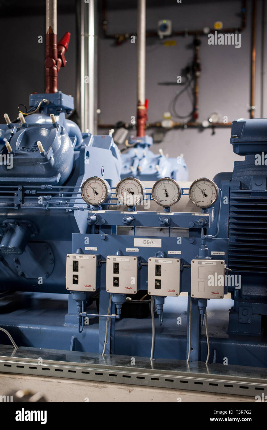 Valves on a industrial cooling engine - Stock Image