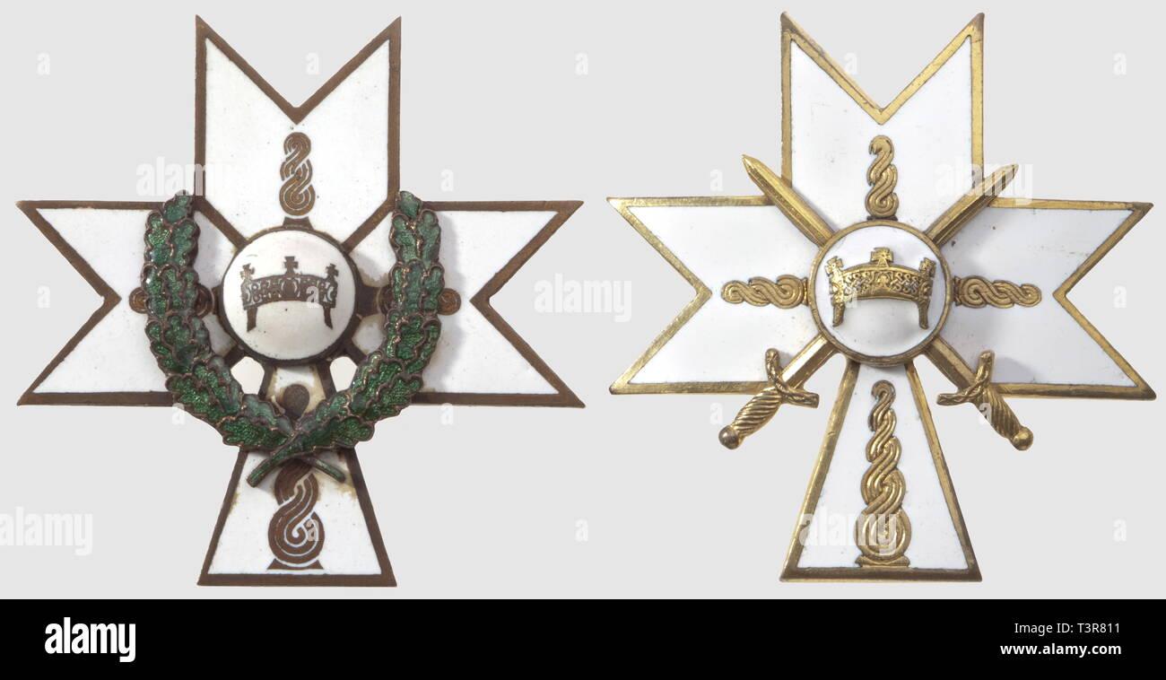 Ordre de la Couronne du Roi Zvonimir, créé le 17 mai 1942. Plaque avec lauriers, métal doré, une face émaillée, Additional-Rights-Clearance-Info-Not-Available - Stock Image