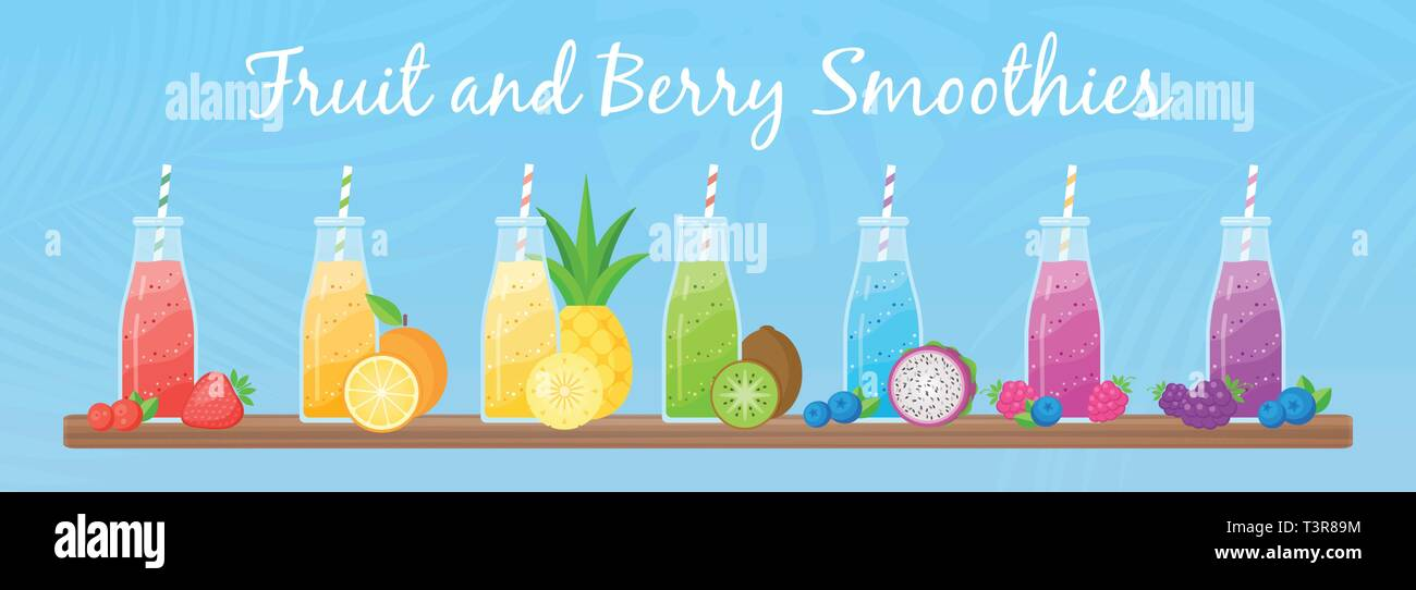 Healthy diet smoothie drink set vector illustration. Glass bottle with straw and layered fresh cocktail in rainbow colors with collection of raw fruit on tropical background for cafe smoothie banner Stock Vector