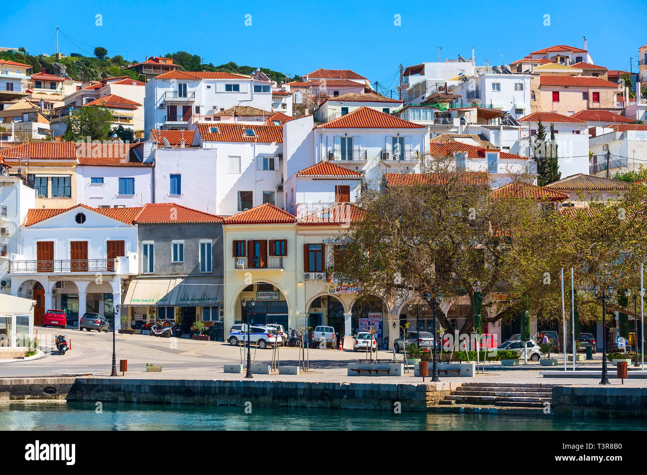 Pylos, Greece - April 2, 2019: Panoramic view of the town of Pylos located at Peloponnese, Messinia prefecture - Stock Image