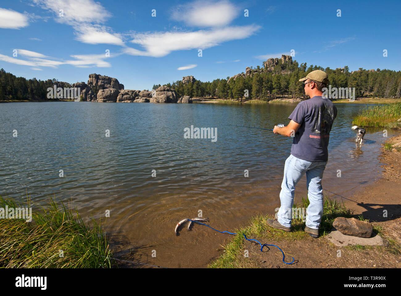 Fishing at Sylvan Lake, Custer State Park, South Dakota, USA Stock Photo
