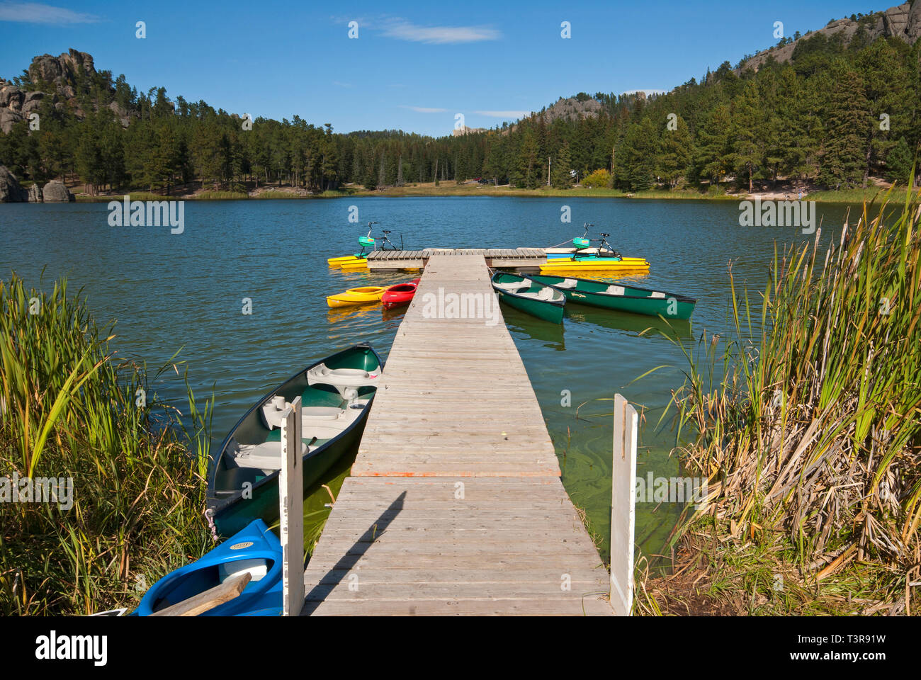Wooden pier with rental canoes and kayaks in Sylvan Lake, Custer State Park, South Dakota, USA - Stock Image