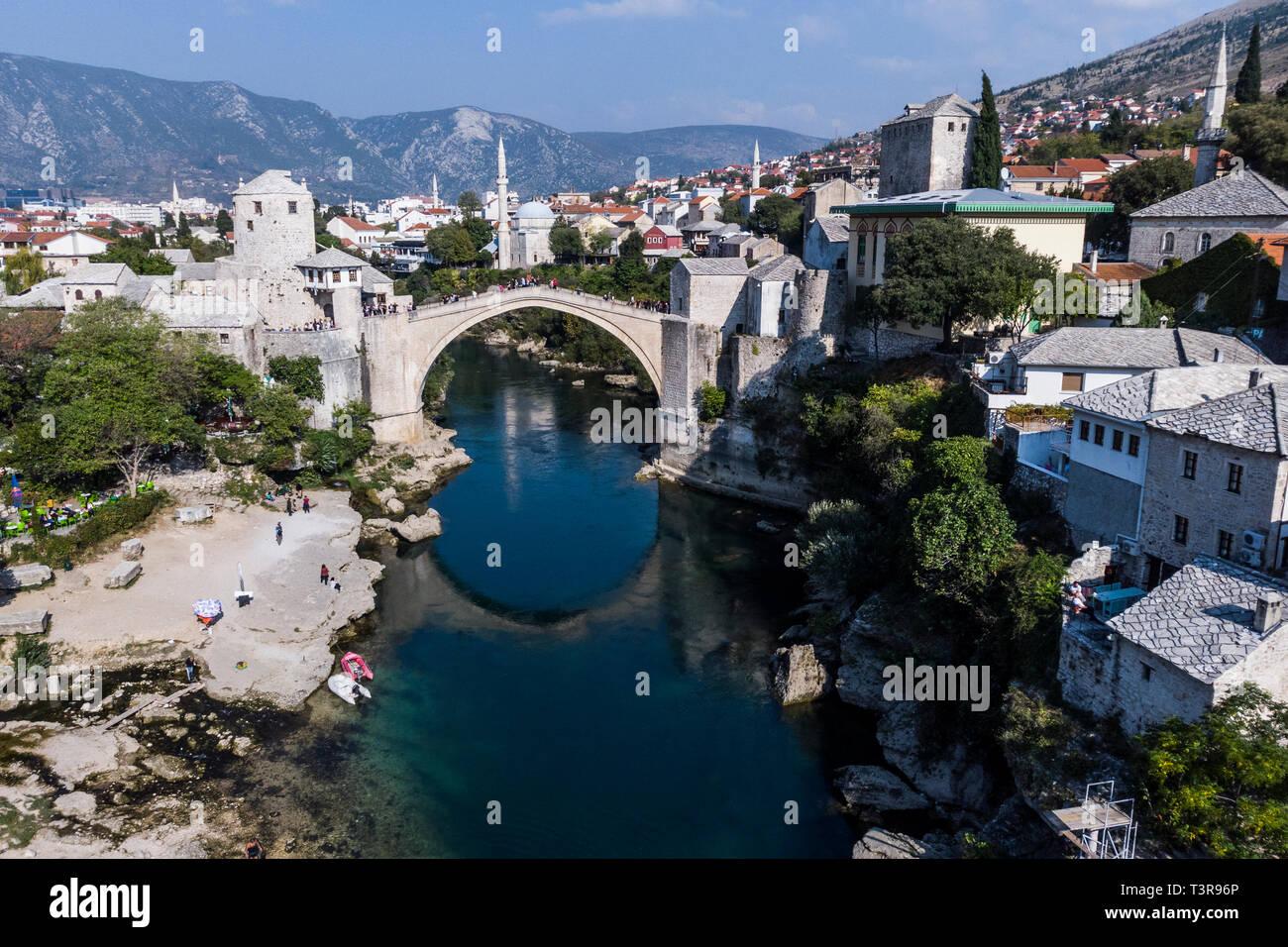 Old Bridge in Mostar above Neretva river inMostar, Bosnia and Herzegovina. - Stock Image