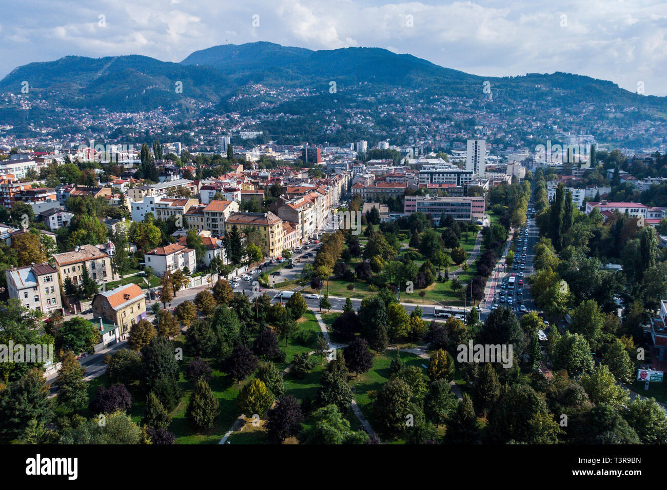 Sarajevo panorama from the north. Aerial, drone picture. - Stock Image