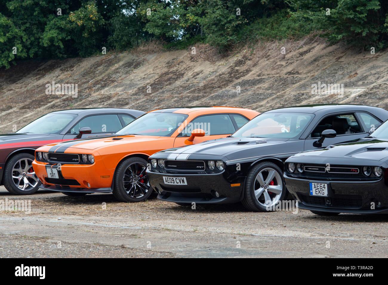 Dodge challenger SRT Cars at Brooklands, Weybridge, Surrey, England Stock Photo