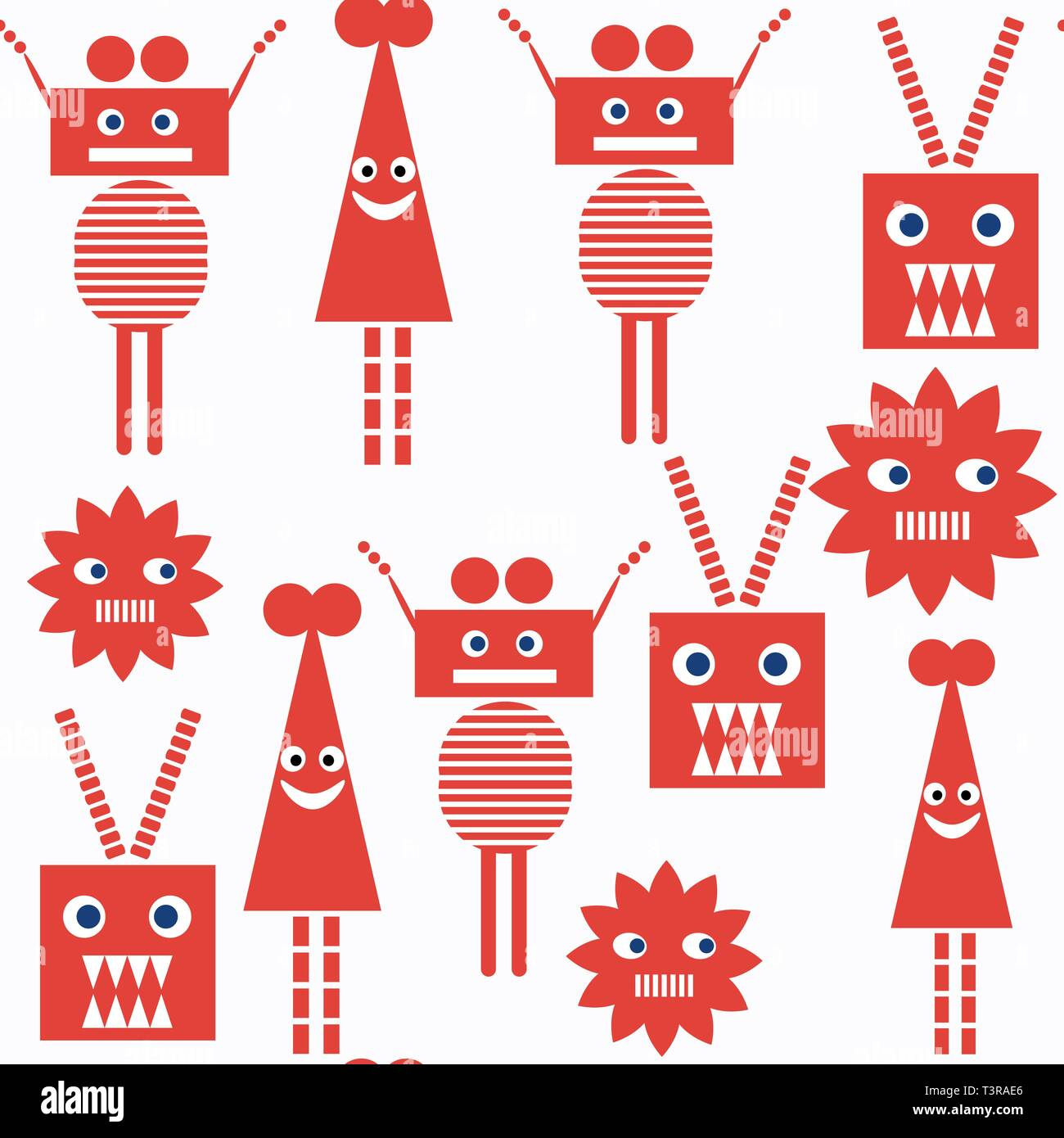 Robots seamless pattern. it is located in swatch menu, vector Stock Vector