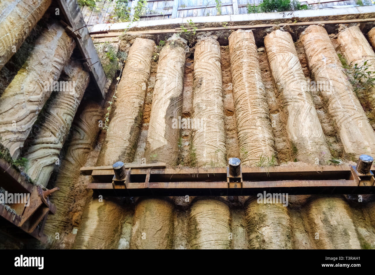 Old piles excavated during the reconstruction of Amursky Boulevard in Khabarovsk. - Stock Image
