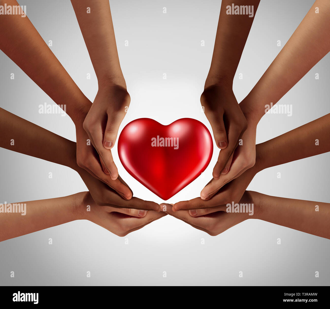 Philanthropy and philanthropic community of sharing and kind support as a symbol for social charitable group or kindness psychology. Stock Photo