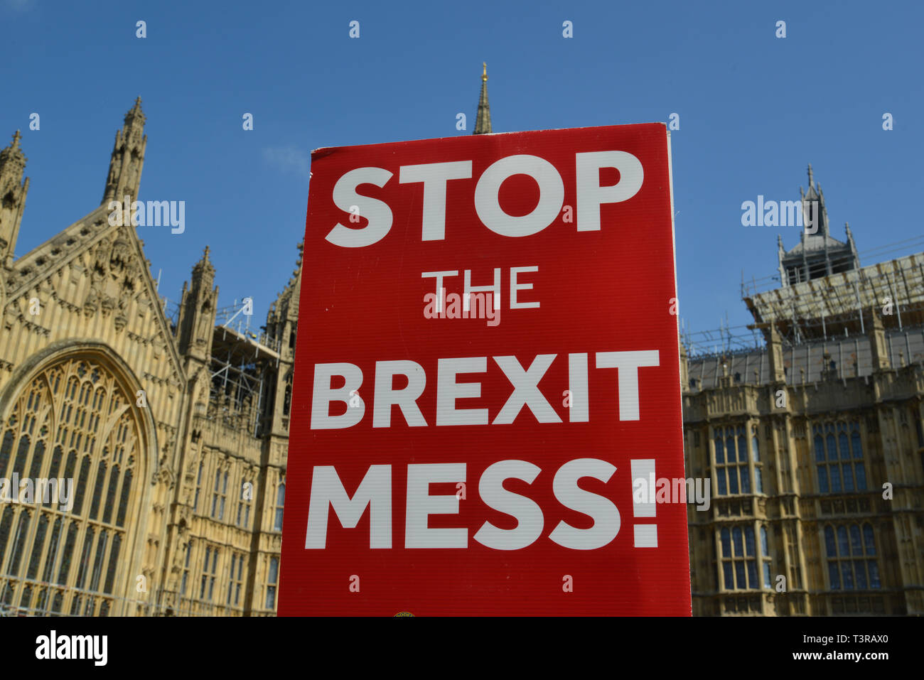Stop Brexit placard opposite Houses Of Parliament, Westminster, London Stock Photo