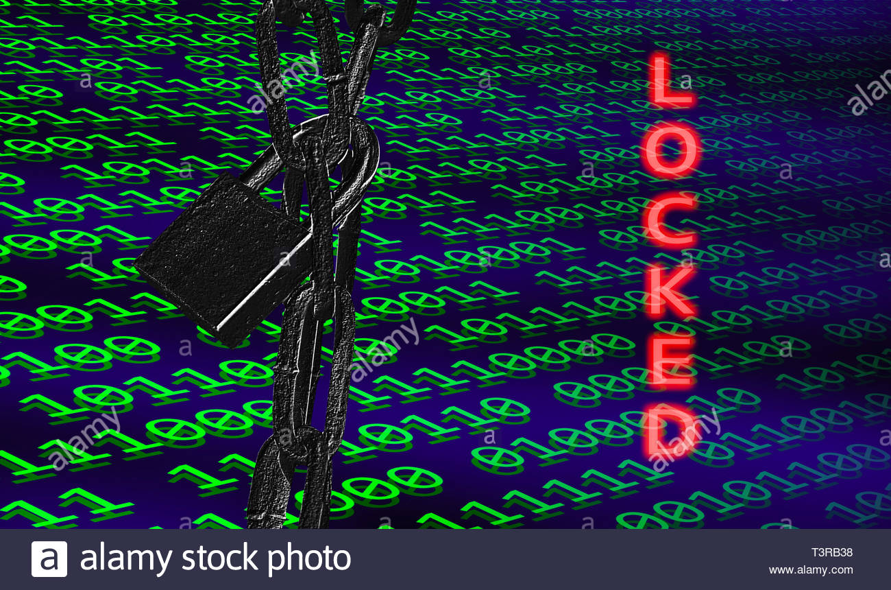 Binary computer code organised into bytes with a locked padlock showing a concept of access to a computer being locked or blocked. Computer locked out. - Stock Image