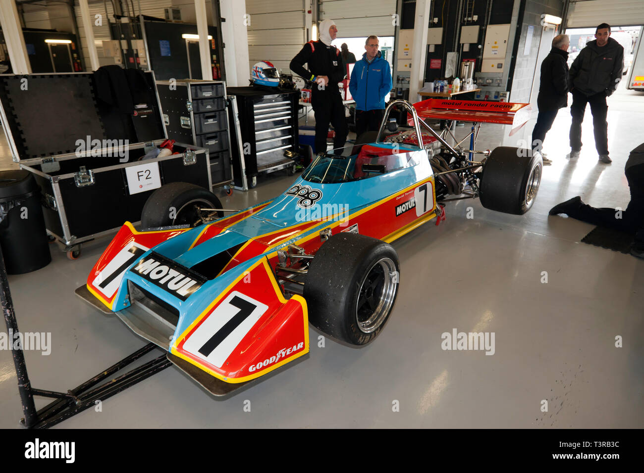 A Motul M1 Cosworth F2 car previously driven by Henri Pescarolo, in the International Pit Garage during the 2019 Silverstone Classic  Test Day - Stock Image
