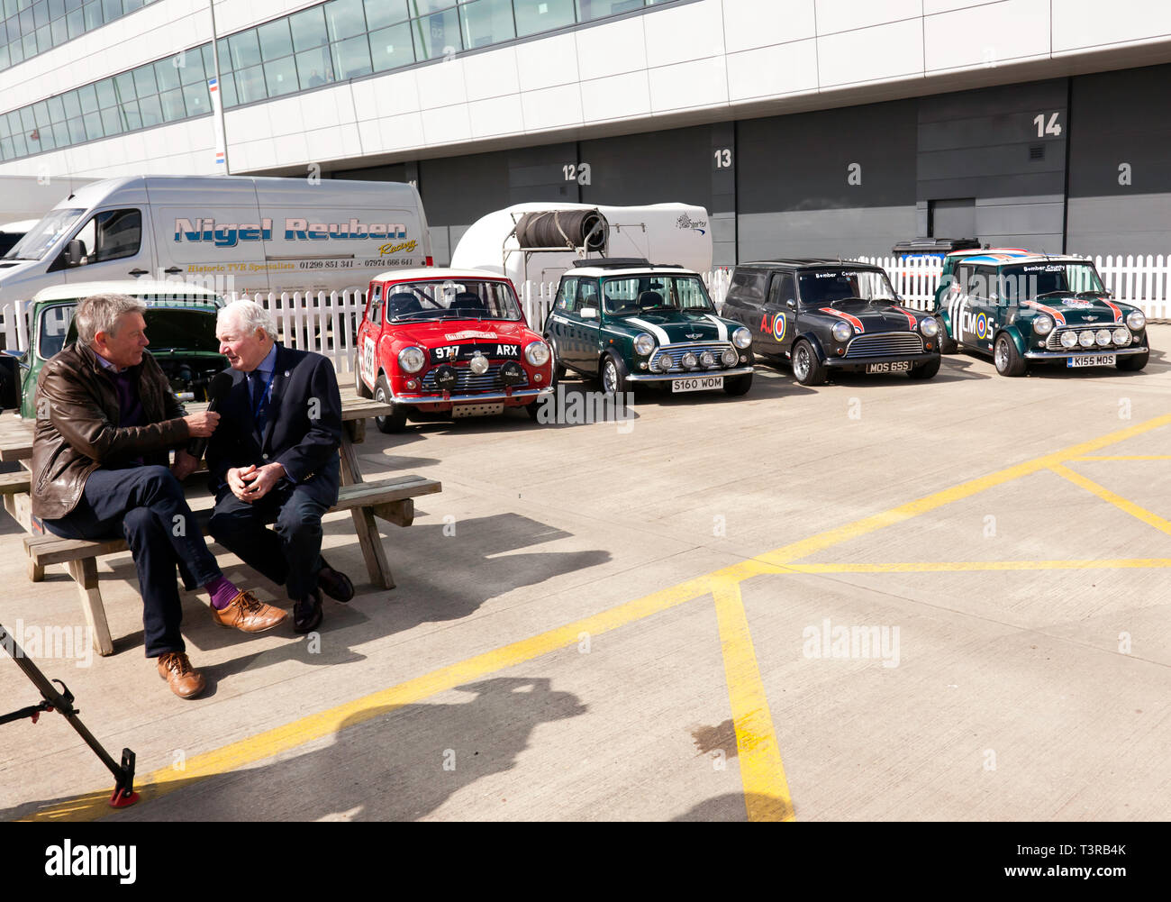 Tiff Needell interviewing mini rallying legend Paddy Hopkirk MBE, in