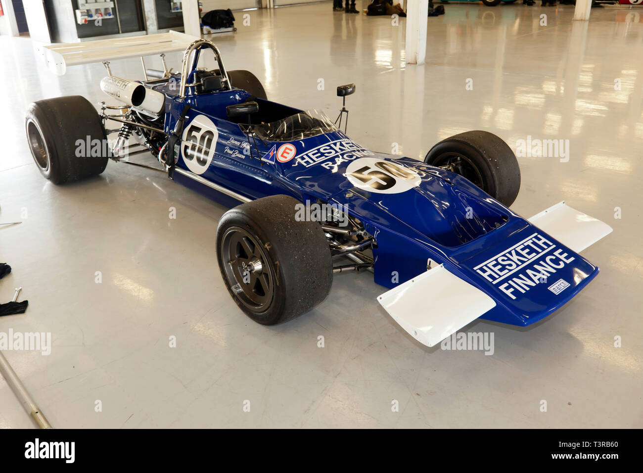 A Blue and White, 1971, March 712 Historic Formula 2 Race Car, once driven by James Hunt, on display in the International Pit garages, during the 2019 Silverstone Classic media Day Stock Photo