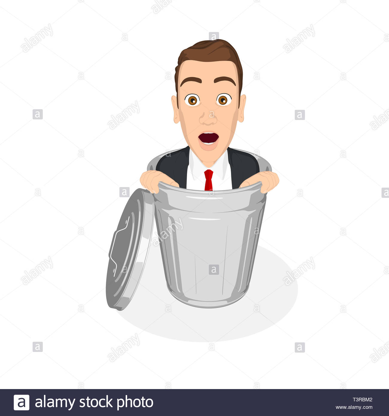 businessman inside trash can, illustration in flat design with isolated white background - Stock Image