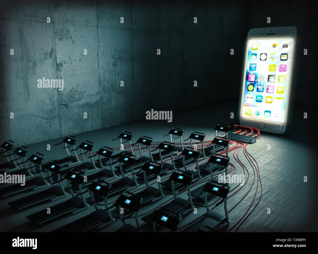 3d rendered image of a series of treadmills that supply energy to a huge smartphone, grunge architecture background. Technology addiction and slavery  - Stock Image
