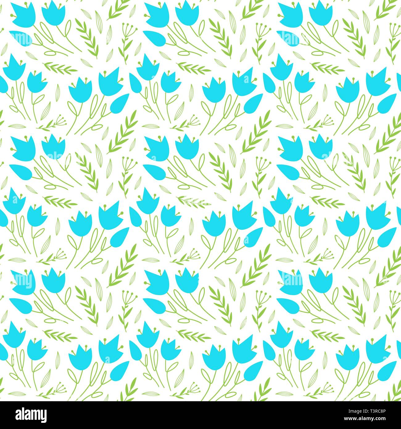 Simple Floral Pattern With Blue Flowers And Leaves Cute Floral Seamlesss Vector Repeat Patterns With Hand Drawn Flowers For Fashion Prints Stock Vector Image Art Alamy
