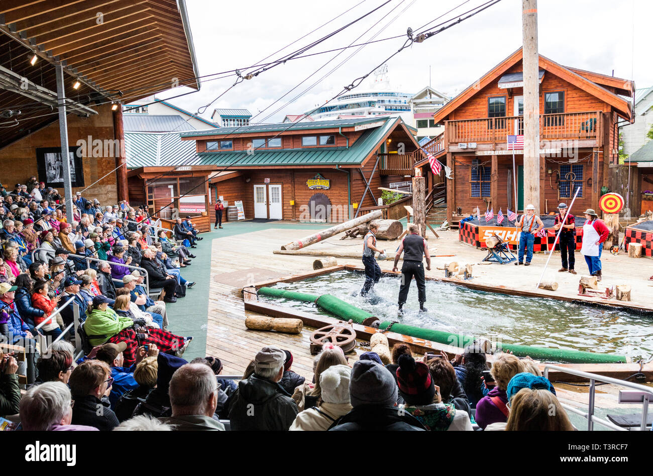 Log rolling demonstration at the Great Alaskan Lumberjack Show in Ketchikan, Alaska USA Stock Photo