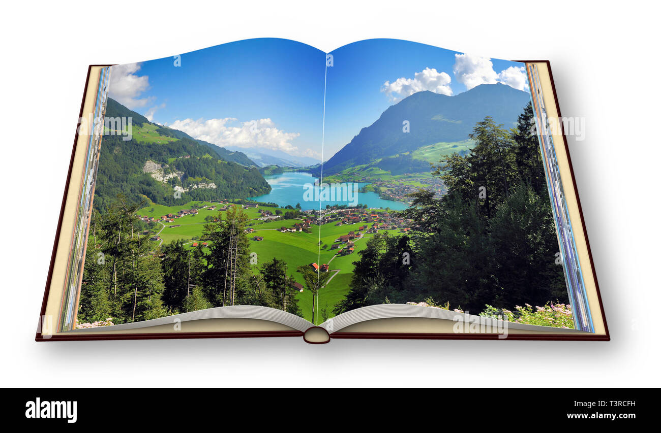 3D render of an opened photo book with a panorama of Lungern village (Switzerland - Europe) - I'm the copyright owner of the images used in this 3D re - Stock Image