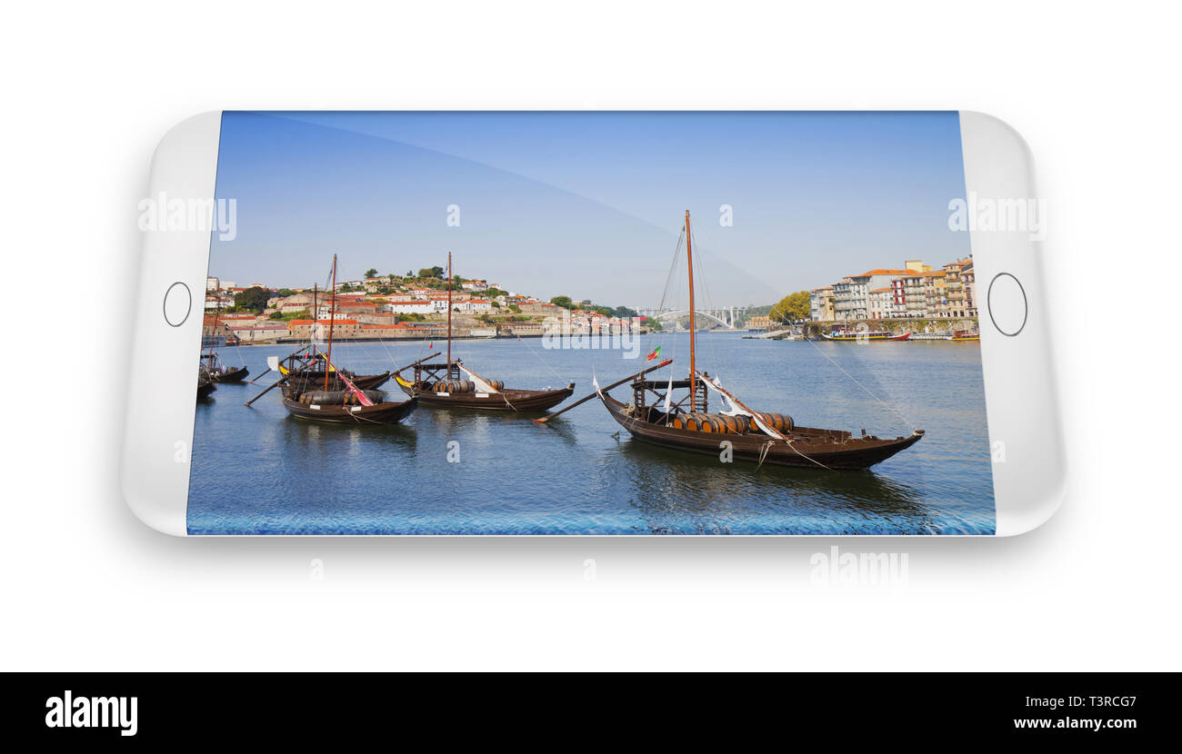 Smartphone concept with 3D render of a typical portuguese boats used in the past to transport the famous port wine (Portugal) - Stock Image