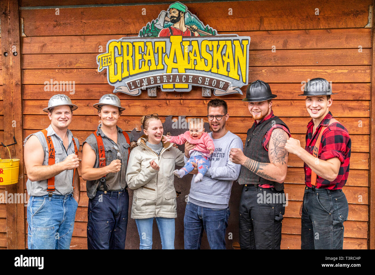 b2c7a251e92b A young family with the lumberjacks after the show at the Great Alaskan Lumberjack  Show in