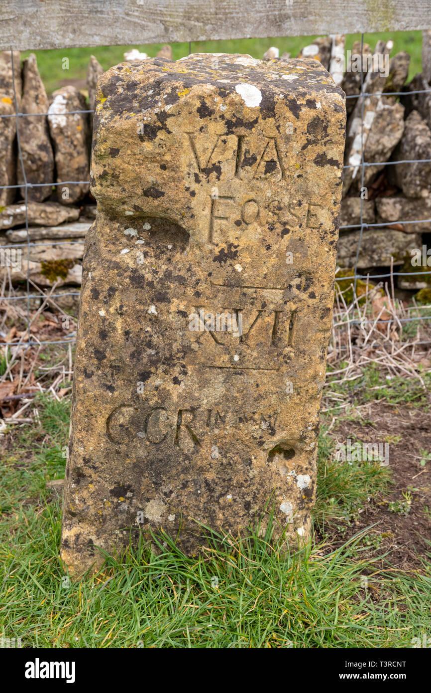 An old milestone at Cotswold Farm Park, Kineton, Gloucestershire UK - Stock Image