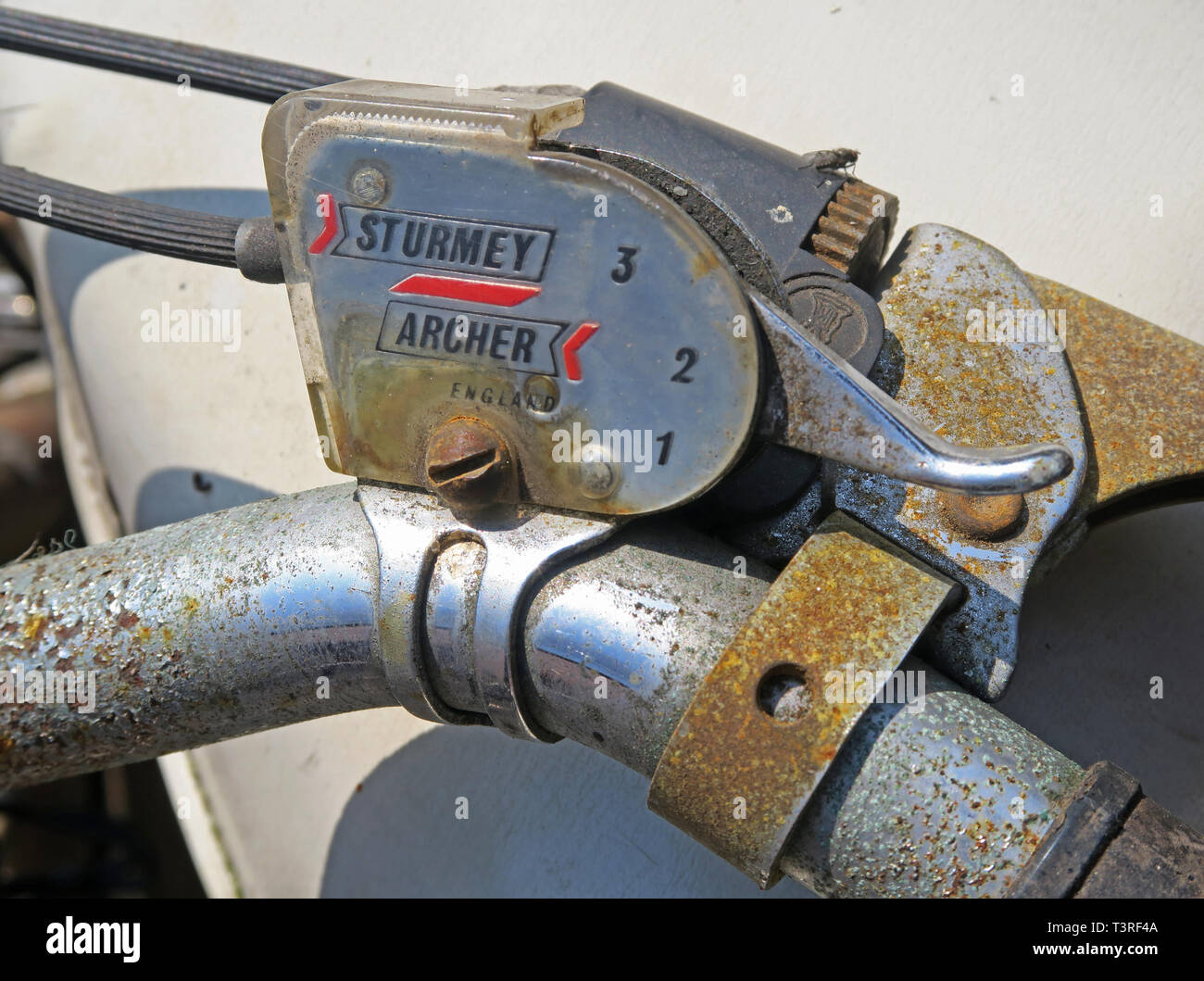 Rusting 1970s Sturmey Archer three speed gear changer on a bicycle, in England - Stock Image