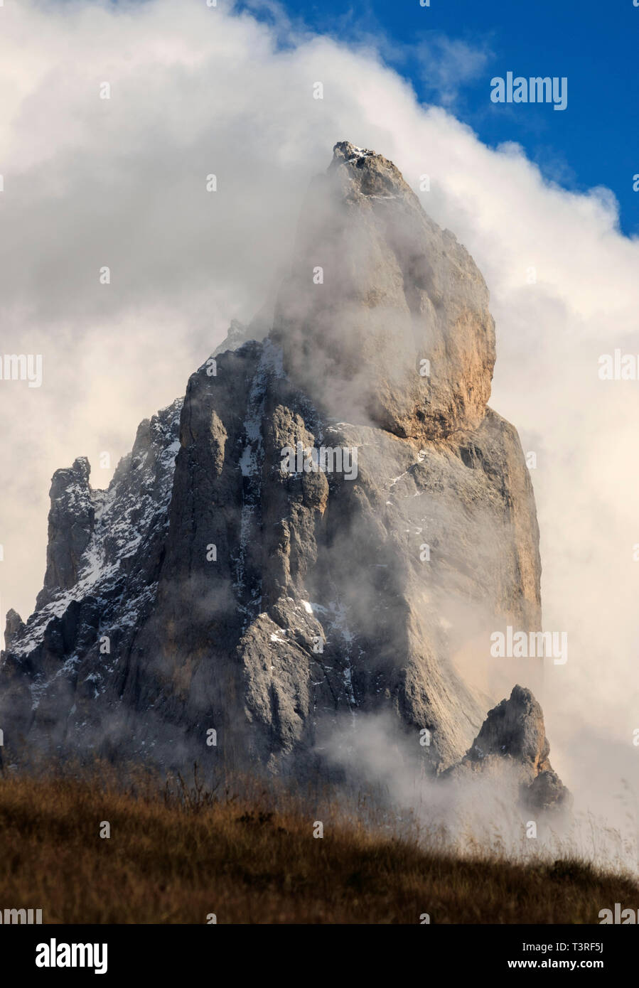 The Cimon (literally, big summit) della Pala is the most famous peak of the Pale di San Martino group in the Dolomites, Italy. For its particular shap - Stock Image
