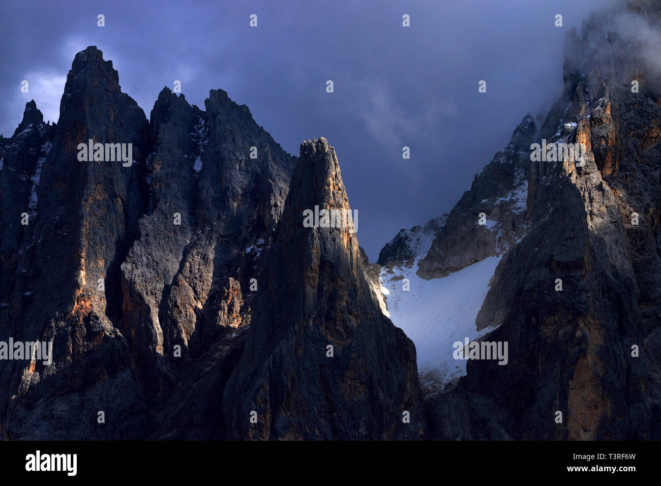 A close-up view on some of the amazing jagged peaks of the Pale di San Martino, one of the most famous and beautiful groups of the Dolomites, as seen  Stock Photo