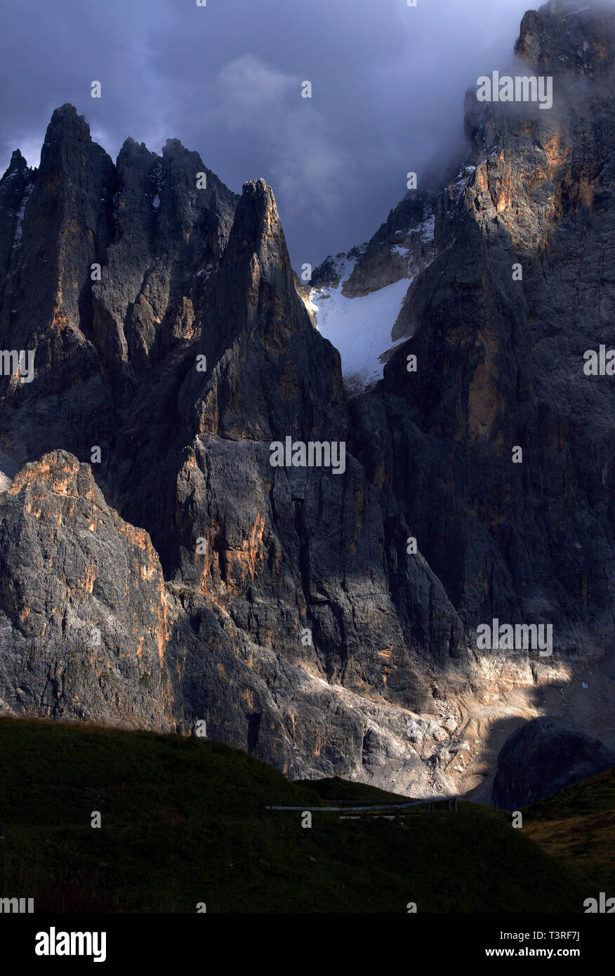 A close-up view on some of the amazing jagged peaks of the Pale di San Martino, one of the most famous and beautiful groups of the Dolomites, as seen  - Stock Image