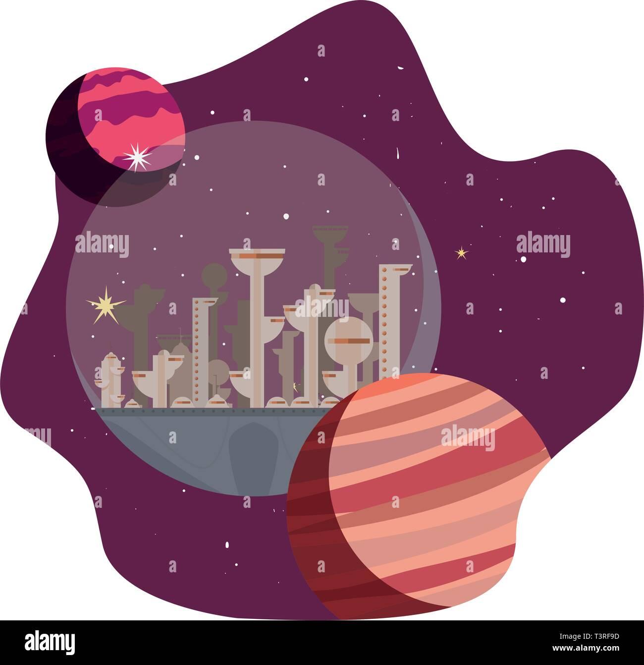 rocket colony futuristic space vector illustration design - Stock Vector