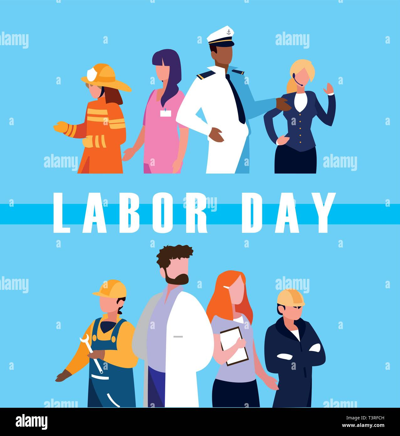labour day celebration with group professionals vector illustration design - Stock Image