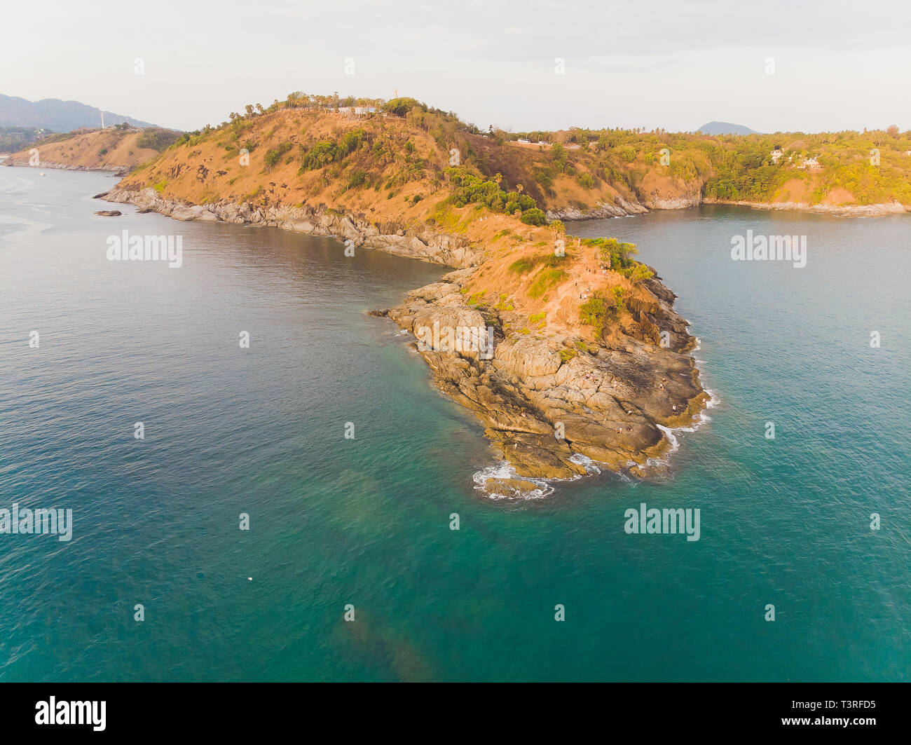Phomthep or Promthep cave icon of Phuket, Thailand. Aerial view from drone camera of Phromthep cave view point at Phuket. - Stock Image