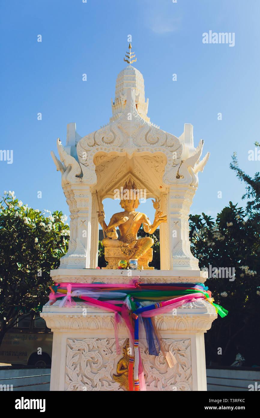 The mythological figures of the Hindu religion. The statues of God Devata - Deity, Flower festival, Bangkok, Thailand. Stock Photo