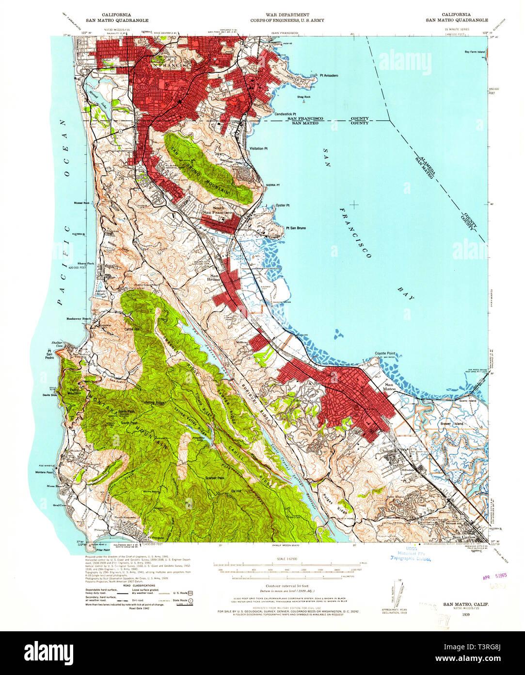USGS TOPO Map California CA San Mateo 301598 1939 62500 Restoration ...