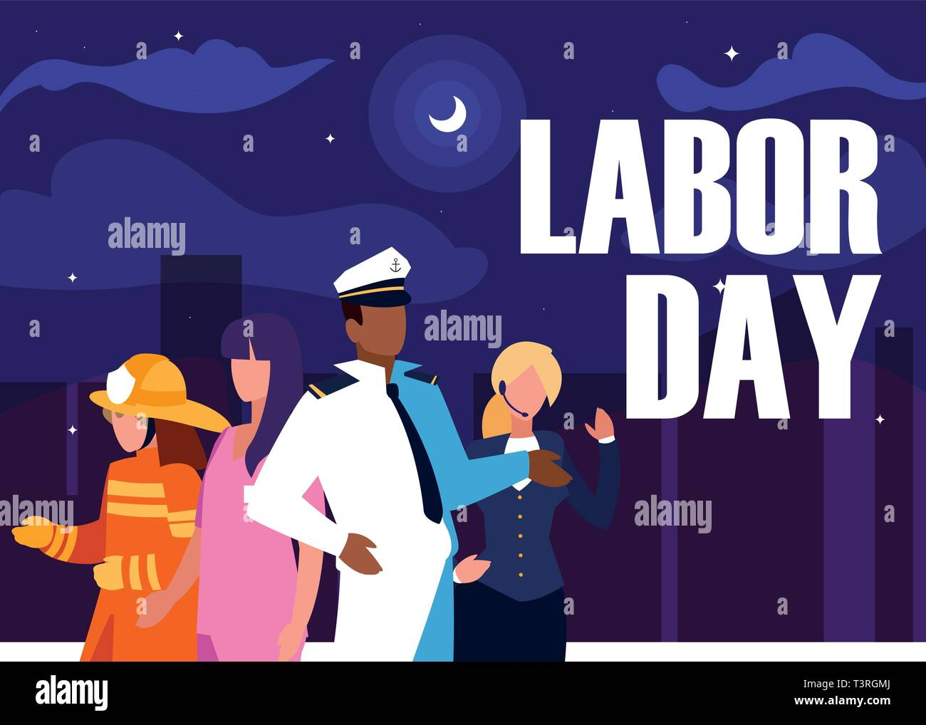labour day with group professionals and cityscape vector illustration design - Stock Image